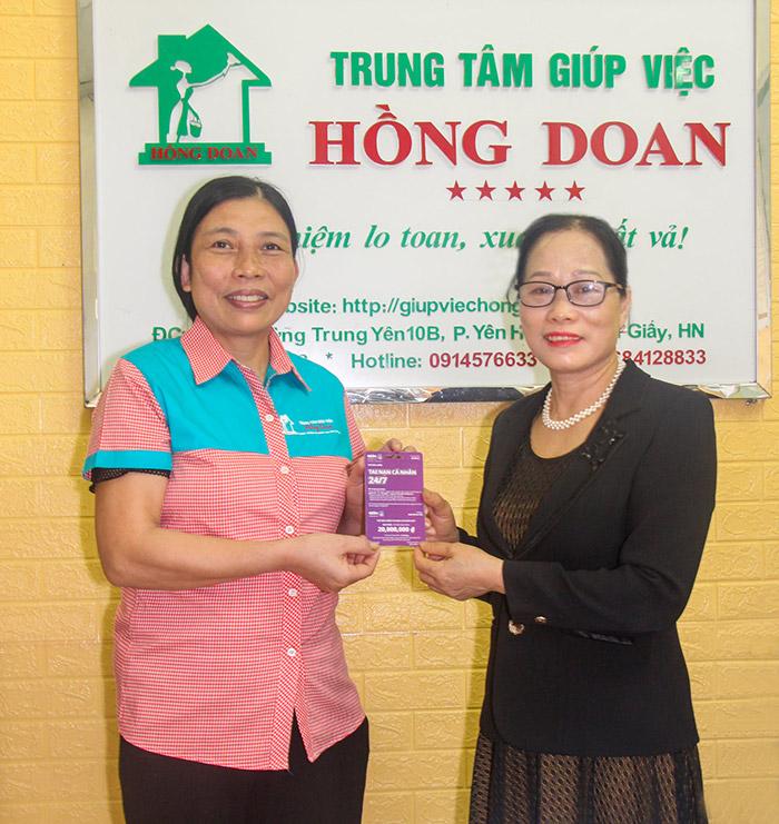 Trung tâm Giúp việc Hồng Doan tặng bảo hiểm thân thể cho người lao động